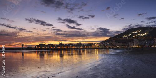 Sunset on the beach in Agadir, Morocco