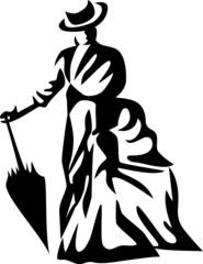 victorian lady with umbrella