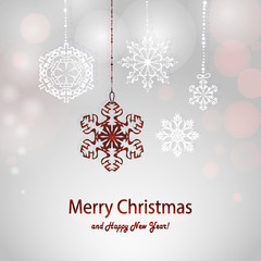 Christmas card with white and red snowflake