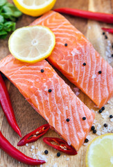 Raw salmon with lemon and pepper