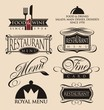 Vintage set of restaurant signs, symbols, logos