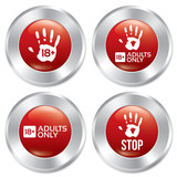 Adults only button set. Age limit stickers.