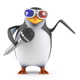 Penguin sings in 3d glasses