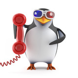 Penguin answers the phone in 3d glasses