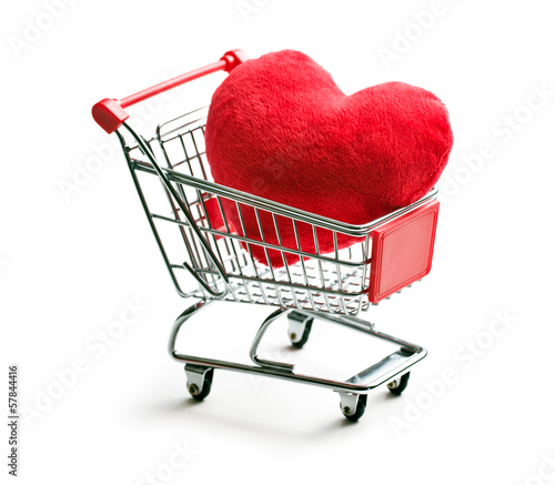 furry heart in shopping cart