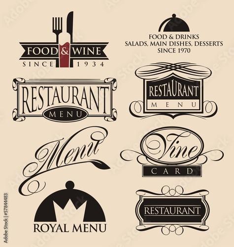Vintage set of restaurant signs, symbols, logos