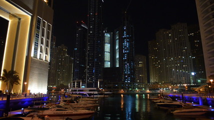 The night illumination of Dubai Marina