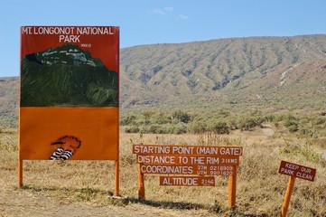 Mount Longonot signpost in Kenya, Africa