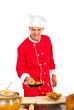 Chef prepare macaroni in pan