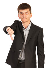 Upset business man give thumb down