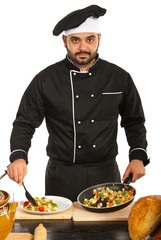 Chef male arrange food on plate