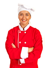 Happy chef woman