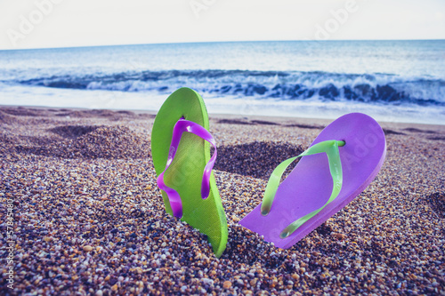 Flip flop sandals on the beach