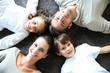 Upper view of happy family of four