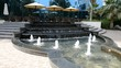 The fountains near outdoor terrace of luxury hotel