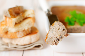 Chicken Liver Pate Topped with Jelly,  selective focus