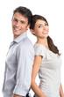 Happy Young Couple Shoulder to Shoulder
