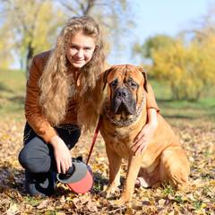 teen girl and dog