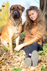 teen girl and dog
