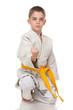 Confident young boy in kimono
