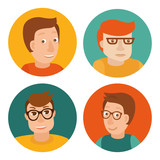 Vector set of avatars in flat style
