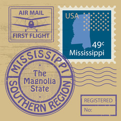 Grunge rubber stamp set with name of Mississippi, vector