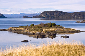 End of the Fireland, Tierra del Fuego. Lapataia Bay in Tierra de