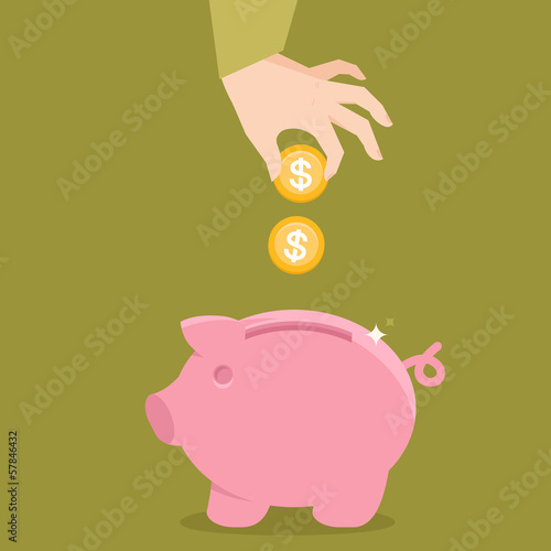 Vector piggy bank concept in flat style