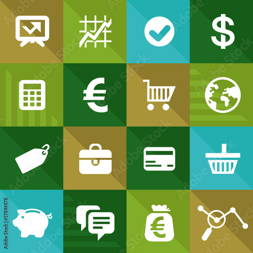 Vector finance and business icons in flat style