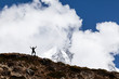 Man hiking silhouette in mountains