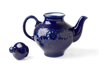 antique porcelain teapot blue on white background