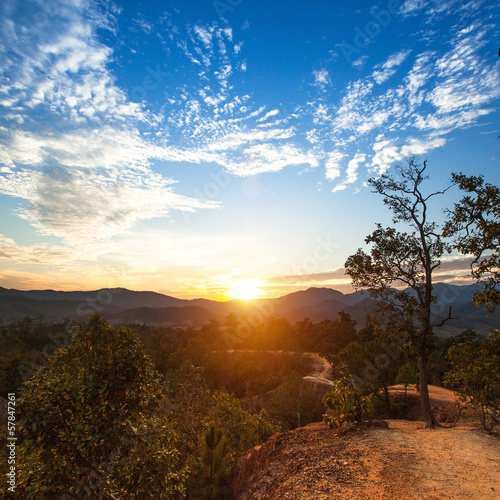 Mountain landscape at sunset in Northern Thailand.