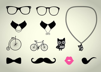 Vector Hipster Accessory Set
