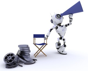 Robot in directors chair with megaphone
