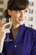 Woman enjoying a glass of wine