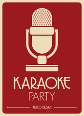 Karaoke Microphone retro poster