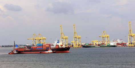 Cargo ship in the sea, the shipyard