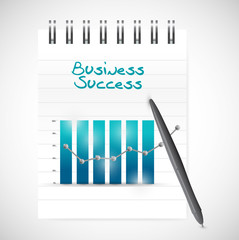 business graph success and notepad illustration