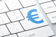 Currency concept: Euro on computer keyboard background