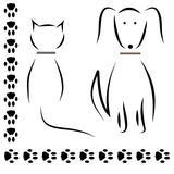 Silhouette cat dog footprints. vector