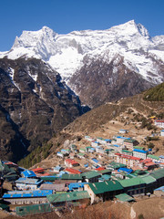 The Sherpa Settlement of Namche Bazaar in the Nepal Himalaya