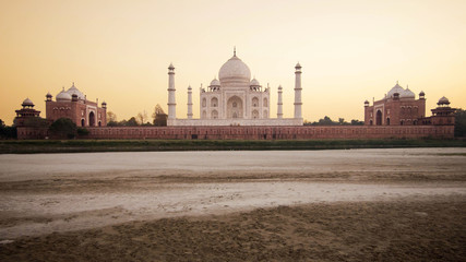 The Taj Mahal at sunset in Agra, India.