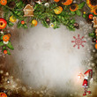 Christmas card with Christmas tree, snowflakes, toys and space f