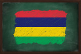 Mauritius flag painted with chalk on blackboard