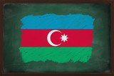 Azerbaijan flag painted with chalk on blackboard