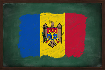 Moldova flag painted with chalk on blackboard