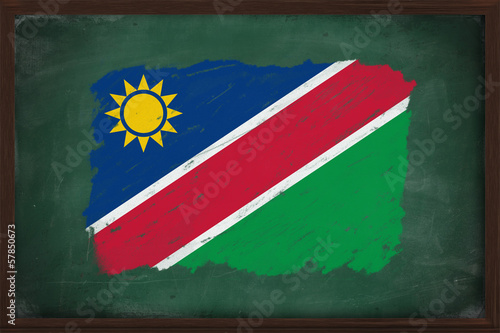Namibia flag painted with chalk on blackboard