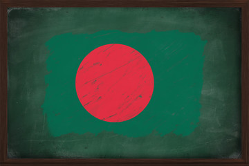 Bangladesh flag painted with chalk on blackboard