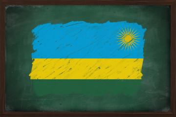Rwanda flag painted with chalk on blackboard