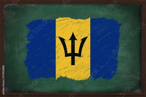 Barbados flag painted with chalk on blackboard
